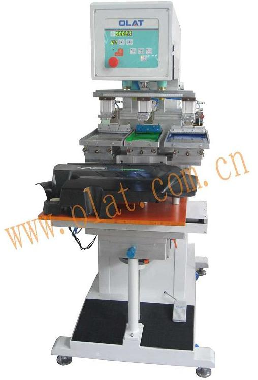 OP-323S Three color Shuttle Pad Printing Machine with Conveyor